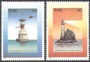 Ireland 1986 Lighthouses/ Maritime Safety/ Helicopter/ Buildings/ Architecture/ Transport/ Aviation 2v set (n30182)