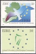 Ireland 1990 Tourism/ European Presidency/ Bird/ Map/ Emblem 2v set (n21552)