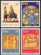 Ireland 1994 Christmas/ Greetings/ Nativity /Donkey/ Cattle/ Carvings/ Glass/ Art 4v set n14610