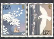 Isle of Man 1995 Europa  /  Peace  /  Freedom  /  Doves  /  Wave  /  Castle  /  Barbed Wire 2v (n37996)