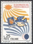 Italy 1967 Stamp Day/ Carrier Pigeon /Sun/ Moon/ Stamp /Mail/ Post/ Birds/ Animation 1v (n41694)