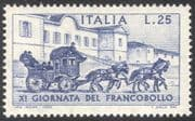 Italy 1969 Stamp Day/ Horses/ Stage Coach/ Post/ Mail/ Transport/ Animals/ Buildings 1v (n23540)