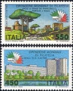 "Italy 1984 ""Italia '85"" Stamp Exhibition/ StampEx/ Buildings/ Trees 2v set (n45067n)"