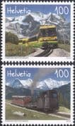 Switzerland 2018 Trains/ Railway/ Rail/ Electric Locomotive/ Steam Engine/ Transport 2v set (ch1050)