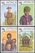 Jamaica 1982 Lord Baden-Powell/ Scouts 75th Anniversary/ Scouting/ Camp/ People 4v set (n42122)