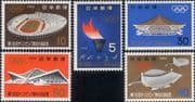 Japan 1964  Olympic Games/ Flame/ Buildings/ Stadium/ Sports/ Architecture  5v set  (n29776)