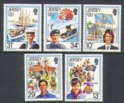 Jersey 1985  Youth Year/ Girl Guides/ Sea Cadets/ Boats/ Scouts/ Plane/ Parachute  5v set  (n22217)