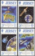 Jersey 1991 Europa  /  Space  /  Satellites  /  Maps  /  Weather  /  Communications 4v set  (n28197)