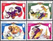 Jersey 1995 Theatre/ Christmas/ Pantomimes/ Cats/ Genie/ Puss in Boots/ Cinderella/ Greetings 4v set (b7694)