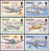 Jersey 1997 Planes/ Aircraft/ Transport/ Aviation/ Airport/ Buildings/ Architecture 6v set (n26020)