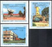 Kampuchea 1989 Space/ Bayon Earth Station/ Cement Factory/ Trucks/ Transport/ Electricity/ Technology 3v set (b7994)
