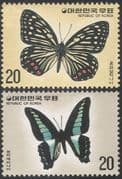 Korea 1976 Butterflies/ Insects/ Nature Protection/ Conservation/ Butterfly/ Environment 2v set (n27358)