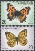 Korea 1976 Butterflies/ Insects/ Nature Protection/ Conservation/ Butterfly/ Environment 2v set (n27360)