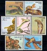 Laos 1986 Reptiles  /  Snakes  /  Animals  /  Nature 7v set (b8044)