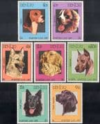 Laos 1987 Dogs/ Labrador/ St Bernard/ Beagle/ Retriever/ Alsatian/ Animals/ Pets 7v set (b8230)