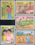 Laos 1987 FAO/ Pigs/ Chickens/ Birds/ Farming/ Fish/ Rice/ Crops/ Food/ FFH/ Freedom From Hunger 5v set (n21152)
