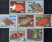 Laos 1987 Tropical Fish/ Marine/ Nature/ Wildlife/ Conservation/ Environment 7v set (b8206)