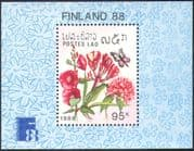 Laos 1988 Flowers/ Butterflies/ Plants/ Insects/ Finlandia/ StampEx 1v m/s (b8075)