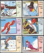 Laos 1988 Olympic Games/ Olympics/ Biathlon/ Shooting/ Skiing/ Ice Hockey/ Skating/ Bobsleigh 6v set (b8406)