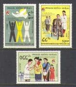 Laos 1988 Red Cross  /  Crescent  /  125 yrs  /  Bike 3v set n21034