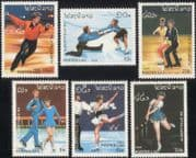 Laos 1989 Olympic Games/ Olympics/ Ice Skater/ Figure Skating/ Sports 6v set (b8453)