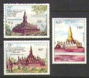 Laos 1990 450th Anniv That Luang/ Temple/ Buildings/ History/ Heritage/ Architecture 3v set (n21160)