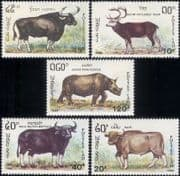 Laos 1990 Buffalo/ Deer/ Rhinoceros/ Cattle/ Animals/ Nature/ Wildlife 5v set (b8231)