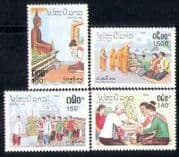 Laos 1992 Customs  /  Buddha  /  Monks  /  Wedding  /  Religion 4v n28241