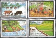 Laos 1993 Nature Protection/ Wildlife/ Birds/ Elephant/ Ox/ Oxen/ Cattle/ Fire Fighting/ Rice Farming 4v set (b8574)