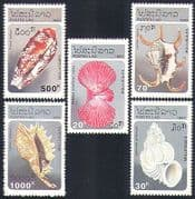 Laos 1993 Sea Shells  /  Marine  /  Nature 5v set (b8216)