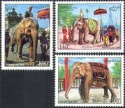 Laos 1994 Ceremonial Elephants/ Animals/ Nature/ Wildlife/ Ceremonies/T emples 3v set (b8229)