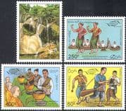 Laos 1995 Tourism/ Caves/ Waterfalls/ Nature/ Dancers/ Monks/ Musicians/ Musical Instruments/ Drums 4v set (n42564)
