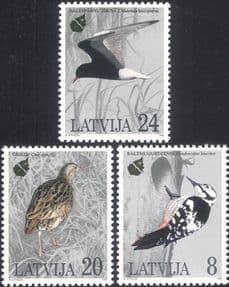 Latvia 1995  Woodpecker/ Tern/ Corncrake/ Birds/ Nature/ Wildlife  3v set  (lv1034)