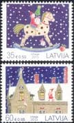 Latvia 2013 Christmas/ Greetings/ Rocking Horse/ Cats/ Presents/Girl 2v set (n45142)