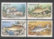 Lesotho 1977 Fish  /  Trout  /  Animals  /  Nature 4v set (n25039)