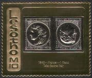 Lesotho 1981 M10 GOLD/ France 1849 tete-beche Pair/ Stamp-on-Stamp/S-on-S 1v (n16287)