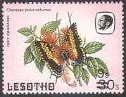 Lesotho 1984 (1986 issue) Butterflies/ Butterfly/ Insects/ Nature 9s on 30s surcharge with SHORT BARS 1v (b2391a)