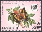 Lesotho 1984 (1986 issue) Butterflies/ Butterfly/ Insects/ Nature 9s on 30s surcharge with SHORT BARS 1v (b2391b)