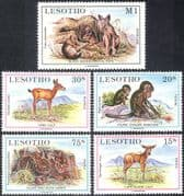 Lesotho 1984 Baboons/ Eland/ Jackal/ Hare/ Antelopes/ Animals/ Nature 5v set (n17727)
