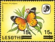 Lesotho 1984 Butterflies 15s on 1s surcharge DOUBLE/ MISREGISTER/ SET OFF ERROR 1v (b2391n)