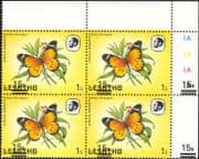 Lesotho 1984 Butterflies 15s on 1s surcharge MISREGISTER ERROR 4 x 1v blk control block (b2391s)
