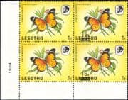 Lesotho 1984 Butterflies 15s on 1s surcharge MISREGISTER MISSING ERROR 4 x 1v blk (b2391r)