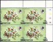 Lesotho 1984 Butterflies 15s on 3s misplaced surcharge ERROR  4v control blk c/b (b3691k)