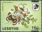 Lesotho 1984 Butterflies 15s on 3s misplaced surcharge ERROR/ Nature 1v (b3691b)