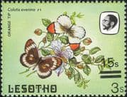 Lesotho 1984 Butterflies 15s on 3s misplaced surcharge ERROR/ Nature 1v (b3691g)