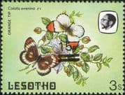 Lesotho 1984 Butterflies 15s on 3s misplaced surcharge ERROR/ Nature 1v (b3691m)
