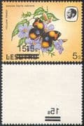 Lesotho 1984 Butterflies 15s on 5s double (2x) surcharge ERROR + OFFSET on REVERSE 1v (b2765b)