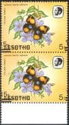 Lesotho 1984 Butterflies 15s on 5s misplaced surcharge ERROR/ Butterfly/ Insects/ Nature/ Errors/ Variety 2 x 1v pr (pair) (b3690m)