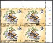 Lesotho 1984 Butterflies 15s on 5s Surcharge ERROR/ Misregister/ Reversed 4v c/b/ control block (b4137a)