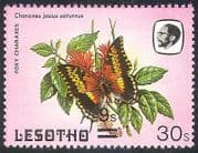 Lesotho 1984 Butterflies  /   9s on 30s Misplaced Surcharge ERROR 1v (b2391)
